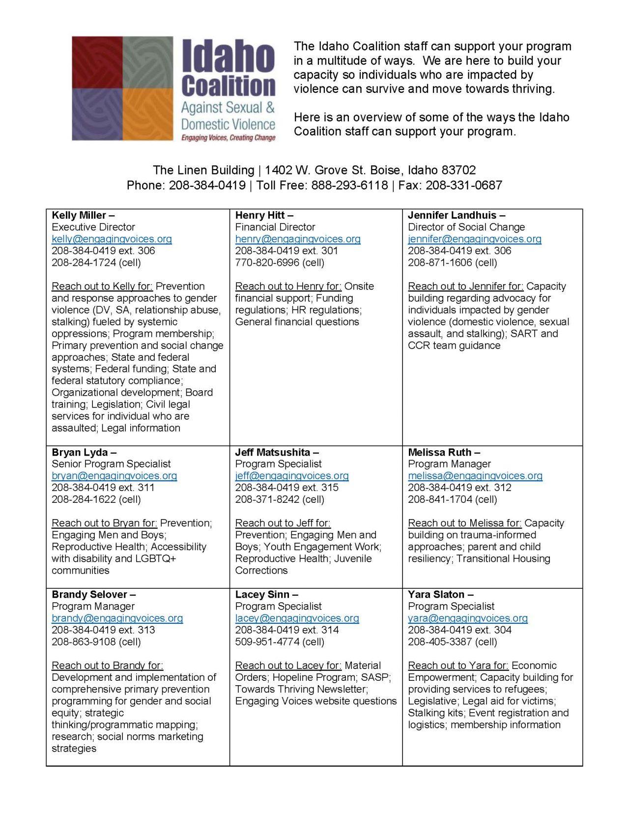 Idaho Coalition Staff Program Reference Page Image