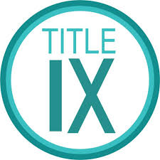The words Title IX in teal in the middle of a circle