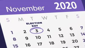 calendar with November 3rd circled with Election Day written above