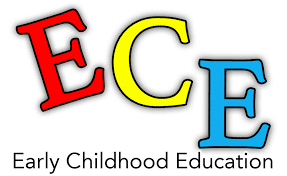 """Letters """"ECE"""" in all caps and different colors with the """"Early Childhood Education"""" written at the bottom"""