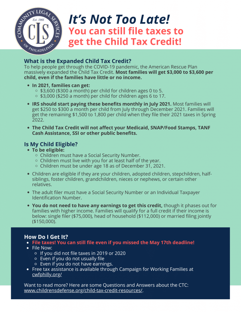 light green background with text explaining child tax credit